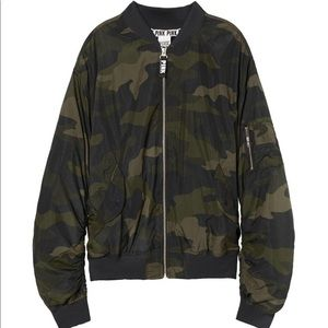 Large vs pink camo flight bomber jacket